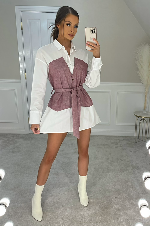 BLAIR Pink Denim Look Belted Shirt Dress