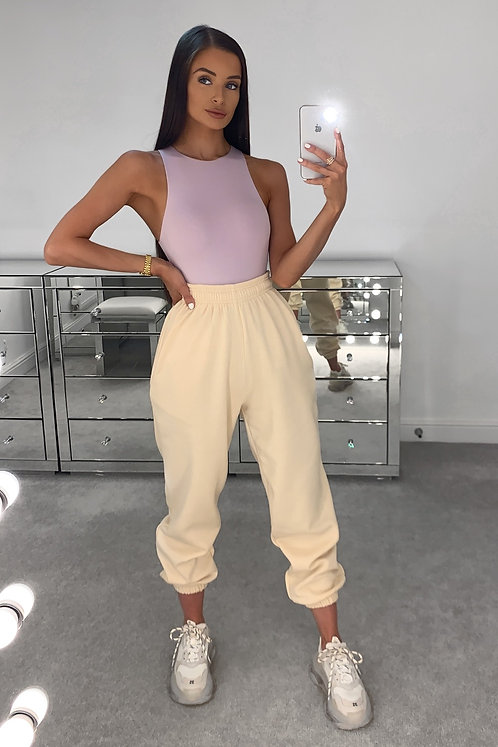 PIA Beige High Waisted Thick Joggers