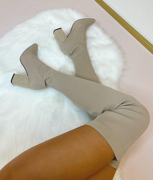 JASMINE Beige Stretch Knit Thigh High Boots
