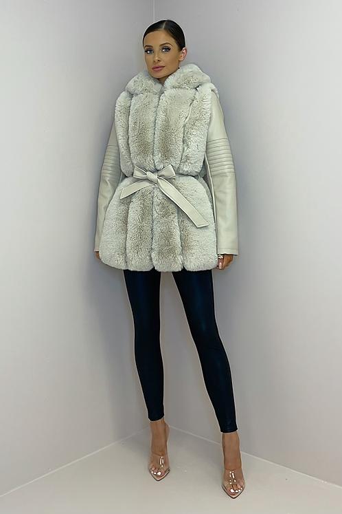 FAYE Beige Premium Faux Fur & Leather Hooded Jacket
