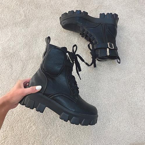 JAMIE Black Chunky Pocket Ankle Boots (SALE)