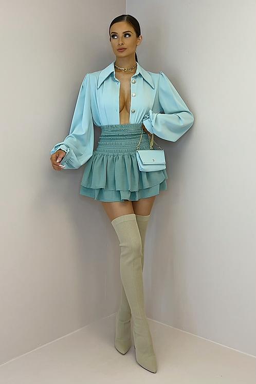 KENDRA Sage High Waisted Gypsy Skirt