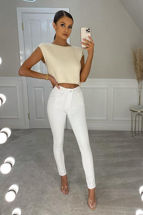 DAISY White High Waisted Skinny Jeans