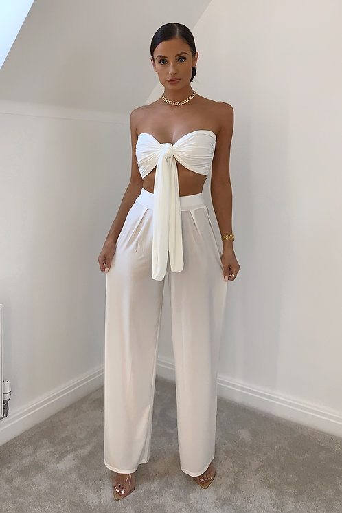 VALENTINA White Slinky Tie Front Co Ord