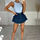 Thumbnail: CALI Deep Blue Cinched Waist Denim Skort