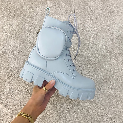 HARPER Baby Blue Chunky Pocket Ankle Boots