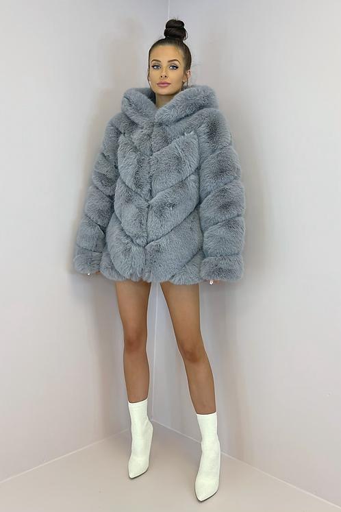 IVY Grey 5 Tier Luxury Faux Fur Hooded Coat