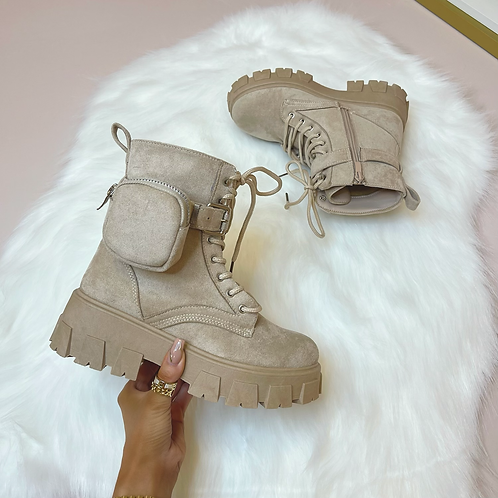 CLARA Sand Chunky Faux Suede Pocket Boots