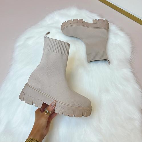 FLORENCE Dusky Pink Chunky Sock Boots