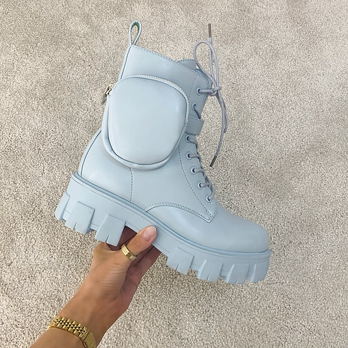 HARPER Baby Blue Chunky Pocket Boots