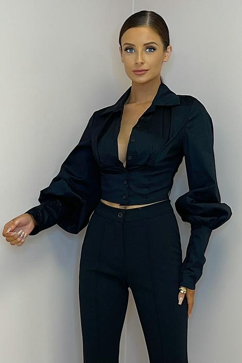 MARY Black Cropped Baloon Sleeve Shirt