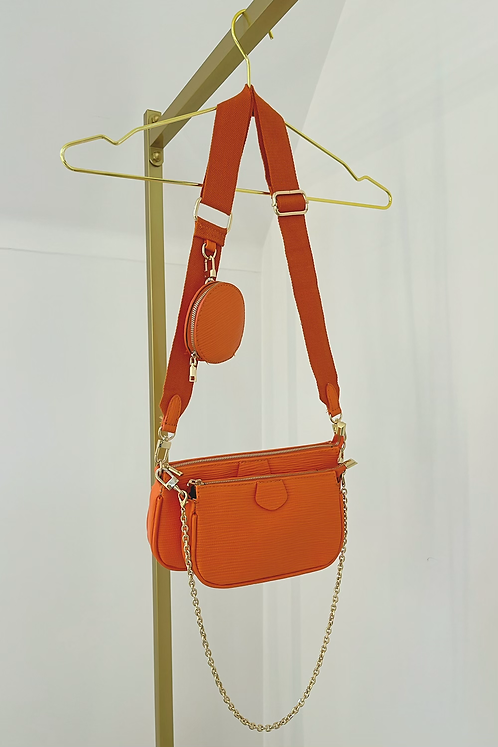 BLAKE Orange Multi Pocket Crossover Pouch Bag