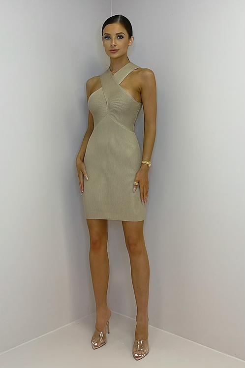 ESTELLE Caramel Cross Over Knitted Dress