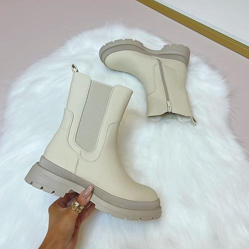 OLIVE Beige PU Chunky Chelsie Boots