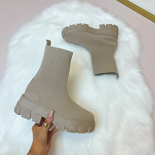 FLORENCE  Fawn Chunky Sock Boots