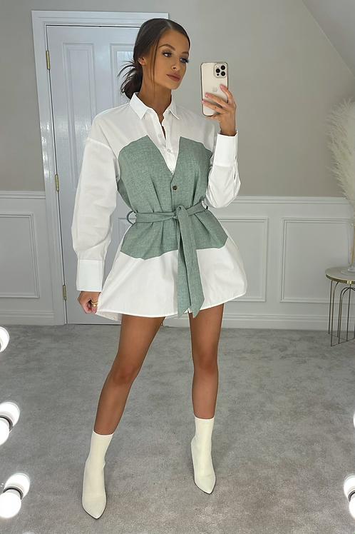 BLAIR Green Denim Look Belted Shirt Dress (SALE)