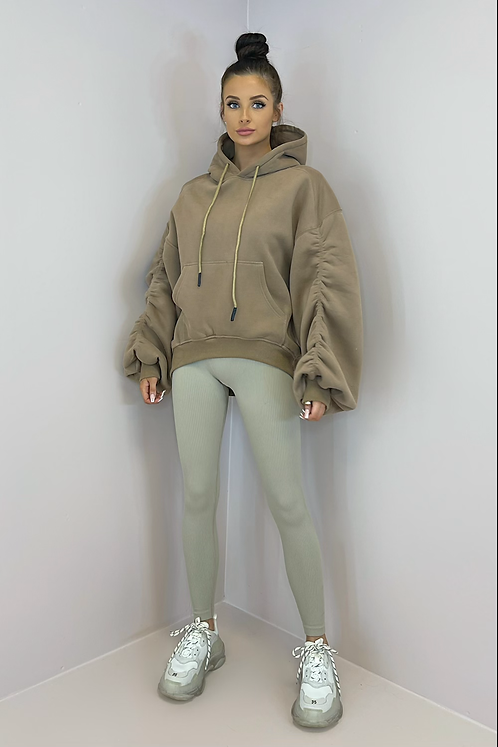 STELLA Mocha Oversized Thick Ruched Hoodie