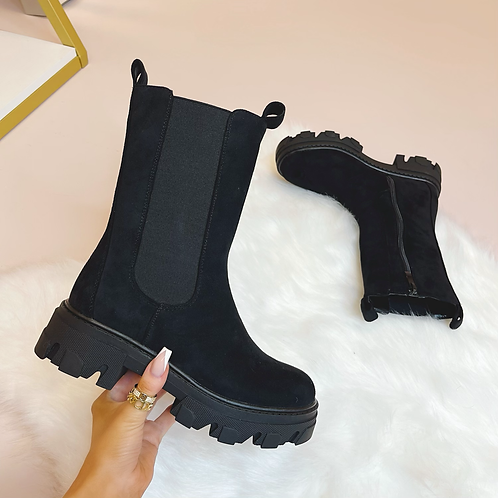 LOGAN Black Suede Chunky Chelsea Boots