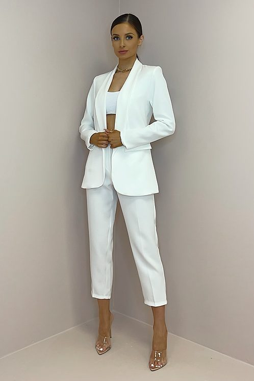 SIENNA White Fitted Trouser Suit