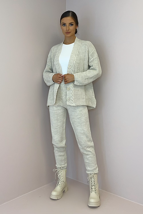 ROXY Oatmeal Knitted Cardigan Co Ord