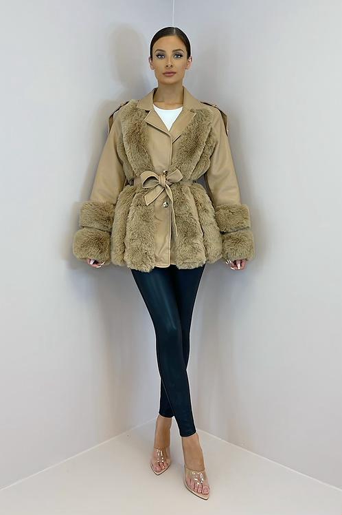 BESSIE Camel Faux Leather/Fur Belted Jacket