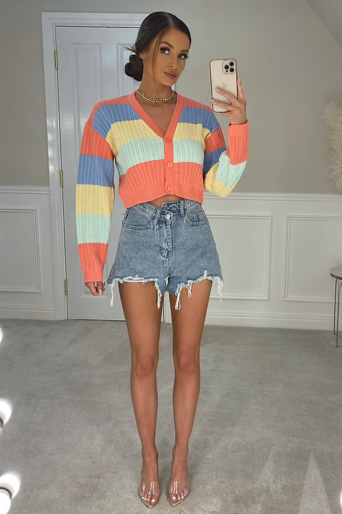 BRITTANY Coral Rainbow Cropped Cardigan