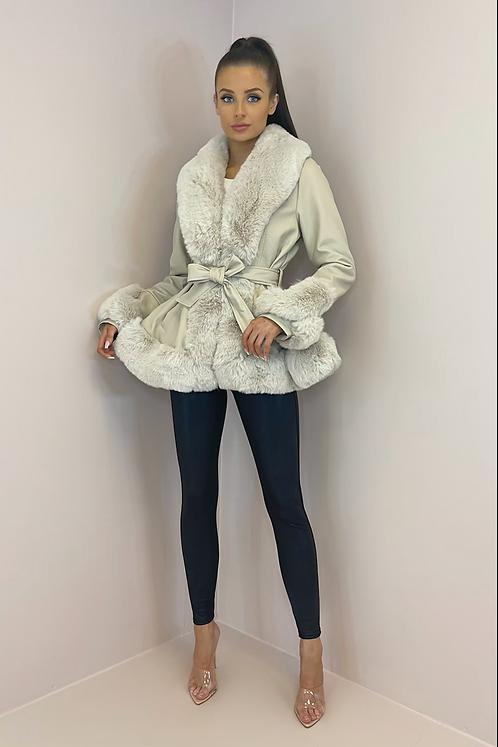 WHITNEY Beige Faux Leather/Fur Peplum Jacket