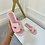 Thumbnail: ALEX Baby Pink Faux Suede Slip On Sandals