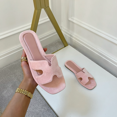 ALEX Baby Pink Faux Suede Slip On Sandals
