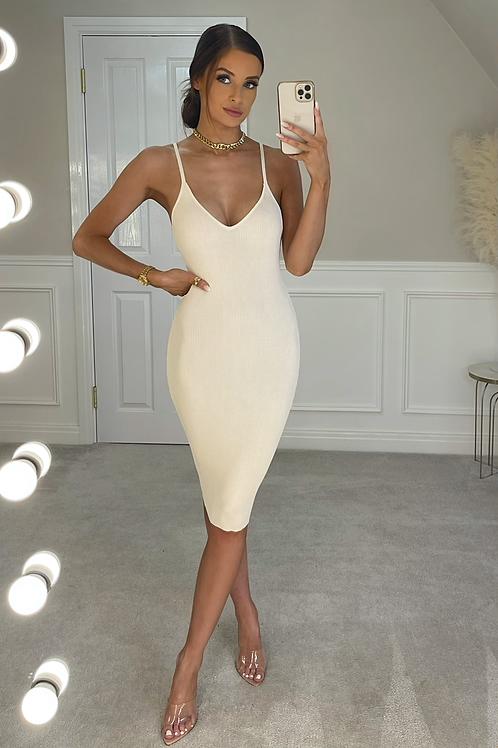JOELLE Beige Premium Stretch Rib Midi Dress