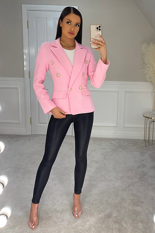 VICTORIA Pink Gold Buttoned Waffle Blazer (SALE)