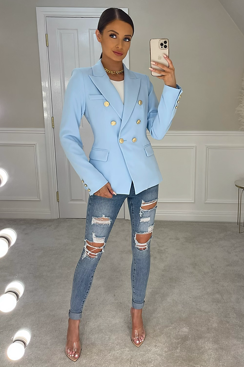 ANNABELLA Blue Gold Buttoned Tailored Blazer