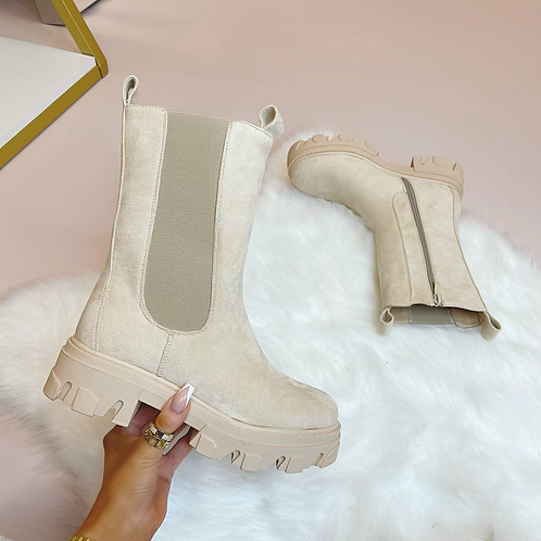 LOGAN Beige Suede Chunky Chelsea Boots
