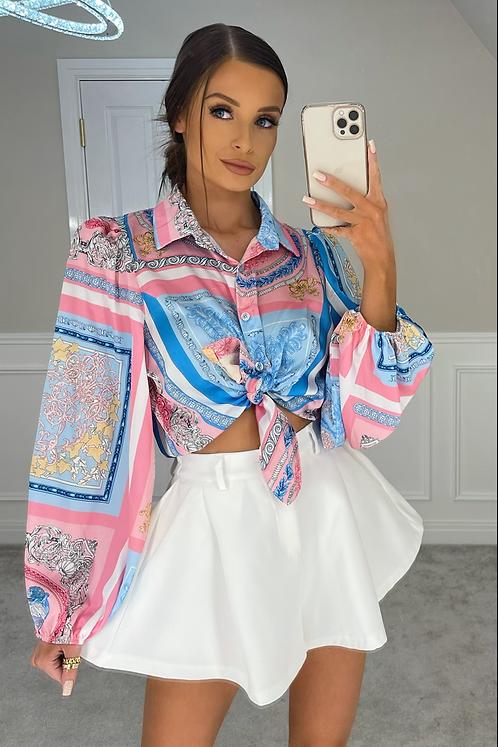 QUINN Pink/Blue Knot Front Scarf Print Shirt