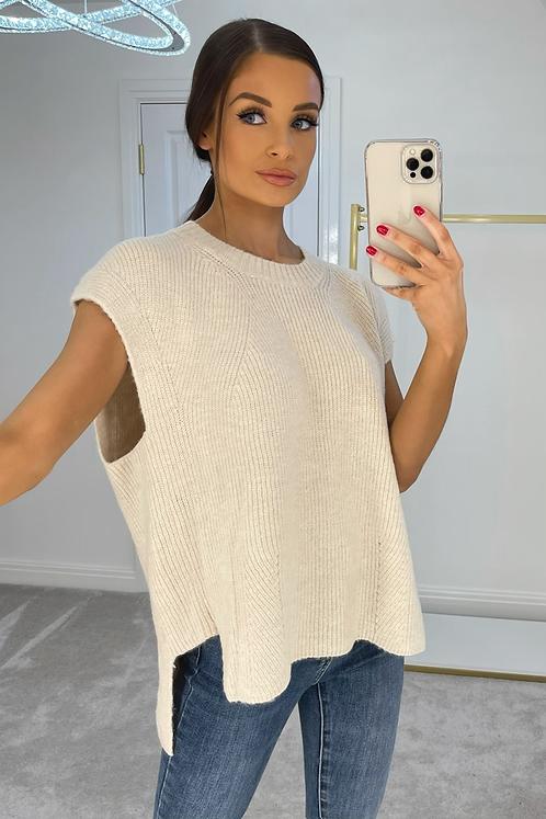 ESME Beige Oversized Soft Knit Sleevless Jumper (SALE)