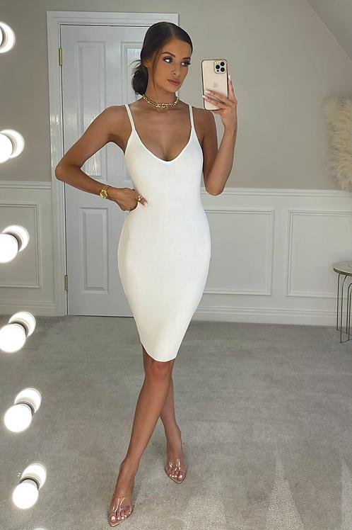 JOELLE White Premium Stretch Rib Midi Dress