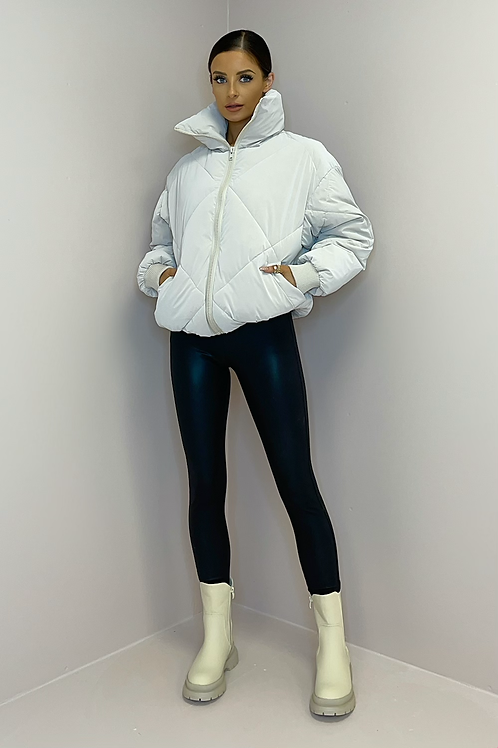 POPPY Pearl Quilted Peach Skin Puffer Jacket