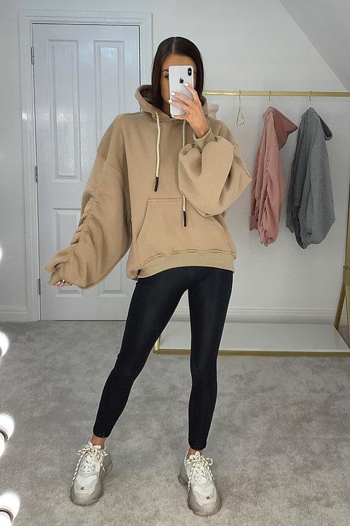 MYA Beige Oversized Rouched Sleeve Hoodie