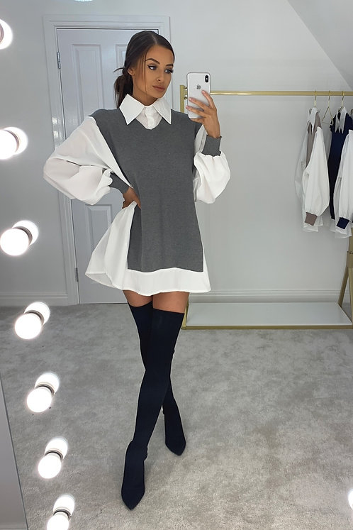 CORA Grey Knit Jumper Collared Shirt