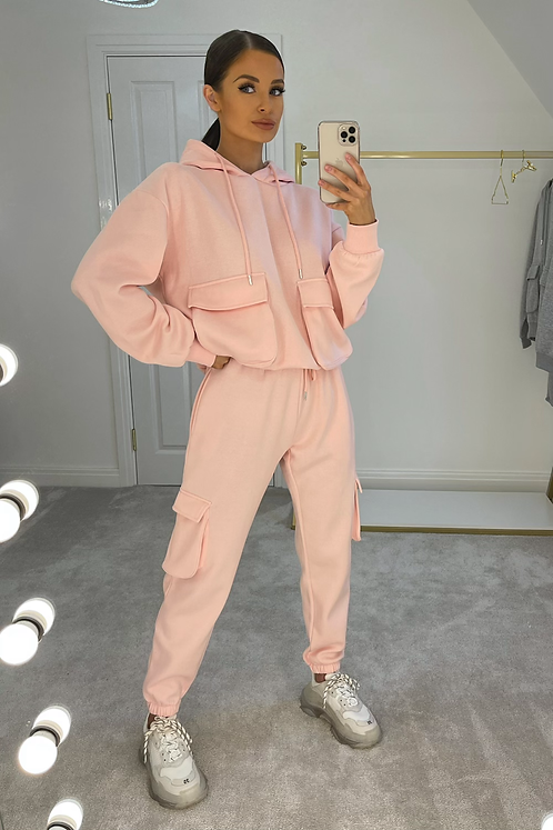 ELSIE Candy Pink Oversized Pocket Tracksuit Set