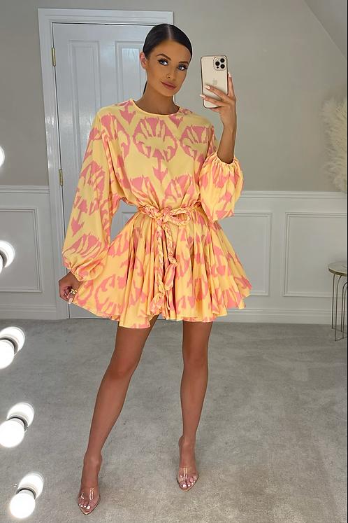 PALOMA Premium Yellow/Pink Belted Frill Dress