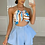 Thumbnail: ROSA Blue/Coco Patterned Gold Chain Bralet