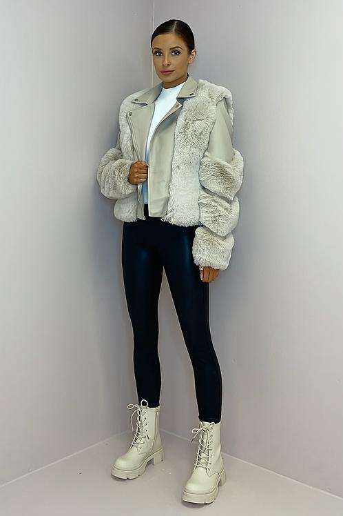 LYDIA Beige Vegan Leather & Fur Panelled Jacket