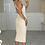 Thumbnail: JESSICA Beige Premium Rib Cross Back Midi Dress