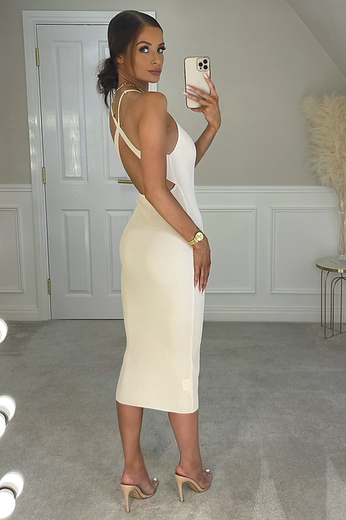 JESSICA Beige Premium Rib Cross Back Midi Dress