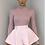 Thumbnail: MORGAN Blush Stretch Rib Button Shoulder Crop Top