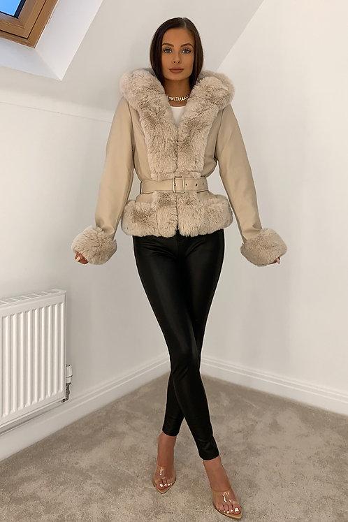 HARMONY Beige Faux Fur & Leather Hooded Jacket (SALE)