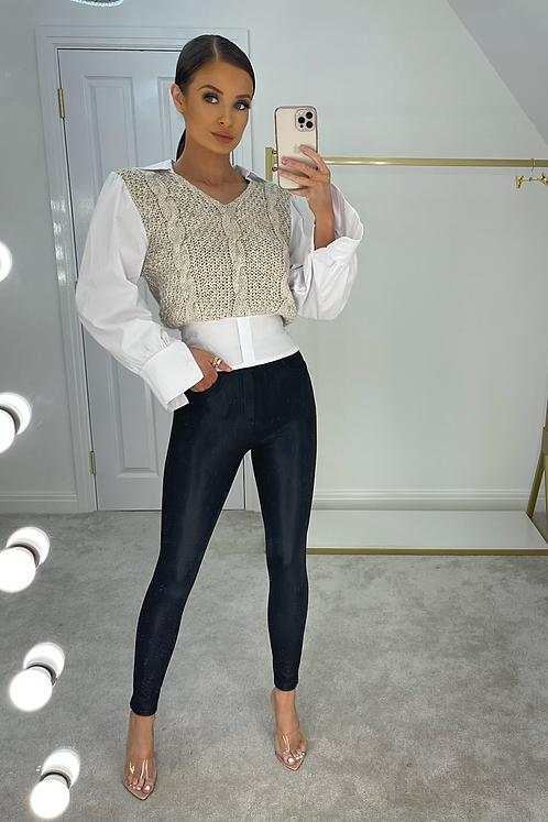 HANNAH Beige Cable Knit Jumper Shirt (SALE)