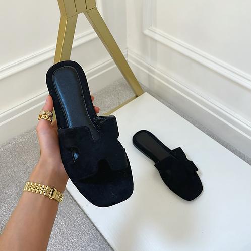 ALEX Black Faux Suede Slip On Sandals
