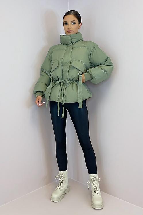 LUCIA Khaki Cinched Waist Puffer Jacket